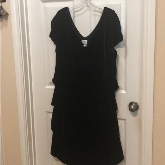 Beautiful Black Velveteen Tiered Dress EUC Size 18